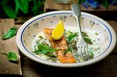 foto of sorrel  - salmon with sauce from a sorrel - JPG