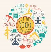 stock photo of pranayama  - Vector illustration of yoga lifestyle - JPG