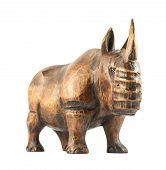pic of rhino  - Rhinoceros rhino sculpture made of carved varnished brown wood isolated over white background - JPG