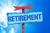 pic of retired  - Retirement sign with sky background - JPG