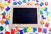 picture of alphabet  - wooden alphabet blocks as a frame  - JPG