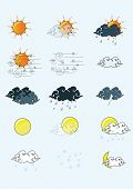 pic of windy weather  - vector icon sun cloud weather illustrator windy - JPG