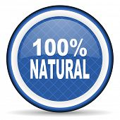 stock photo of 100 percent  - natural blue icon 100 percent natural sign  - JPG