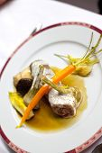stock photo of veal  - Veal vegetable and cream sauce on a plate - JPG