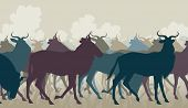 stock photo of wildebeest  - Cutout illustration of a herd of adult wildebeest - JPG