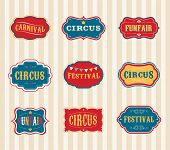 stock photo of circus tent  - Vintage Hipster Circus labels set - JPG