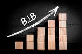 foto of ascending  - Word B2B on ascending arrow above bar graph of Wooden small cubes isolated on black background - JPG