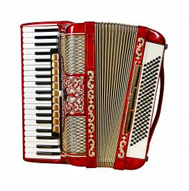 picture of accordion  - musical instrument red accordion front view outdated device - JPG