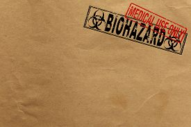 pic of bio-hazard  - Paper texture with Bio Hazard and medical use only rubber stamps - JPG