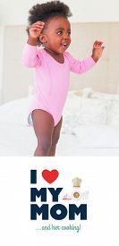 image of babygro  - mothers day greeting against baby girl in pink babygro standing on bed - JPG