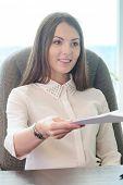 stock photo of secretary  - Portrait of a secretary - JPG