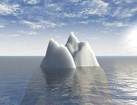 image of iceberg  - iceberg 3d illustration background with sea and blue sky - JPG