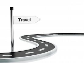 pic of long winding road  - 3d renderer illustration of curved road and travel road sign - JPG