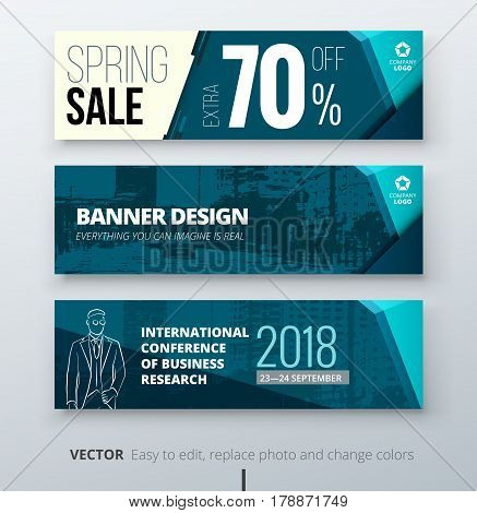 Banner template design  Presentation concept  Teal Corporate business  banner template background  Horizontal template banner stand or flag design