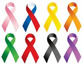 stock photo of leukemia  - Awareness ribbons for breast cancer - JPG