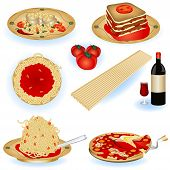 stock photo of italian food  - A collection of Italian food color illustrations - JPG
