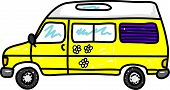 picture of campervan  - yellow campervan with daisies isolated on white  - JPG