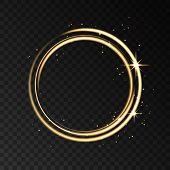 Golden Neon Circle Light Effect Isolated On Black Transparent Background. poster