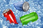 Three color aluminum cans over ice