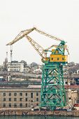 pic of shipbuilding  - Powerful shipbuilding shipyard with a pier and cranes - JPG