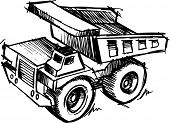stock photo of dump-truck  - Sketch of a Dump truck Vector Illustration - JPG