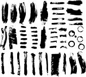 picture of paint brush  - Brush strokes and Ink and Paint Splatters Vector Illustration - JPG