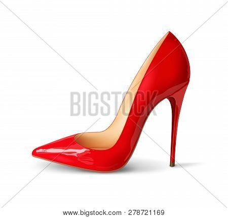 poster of Beautiful Female Shoes On A White Background, Sexy Shoes, Classic. High-heeled Shoes, Patent Leather