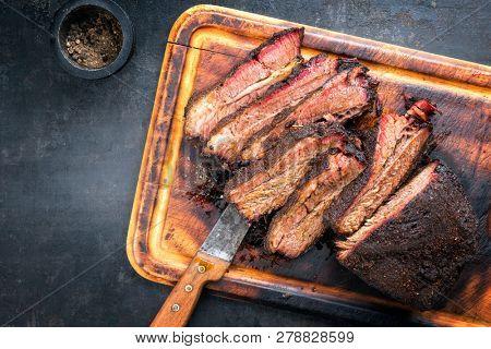 Traditional smoked barbecue wagyu beef