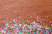 Color Sprinkling. Sugar Sprinkle, Decoration For Cake And Bakery, A Lot Of Sprinkles In A Bucket On  poster