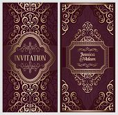 Wedding Invitation Card With Gold Shiny Eastern And Baroque Rich Foliage. Ornate Islamic Background poster