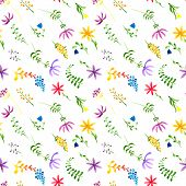 Cute Watercolor Floral Seamless Pattern. Colorful Boho Flowers. Vintage Hippie Style. Cute Floral Wa poster