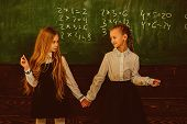 Friendship. Friendship Of Two School Girls. Friendship Concept. Friendship Relations Of Little Girls poster