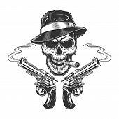 Vintage Monochrome Killer Skull Smoking Cigar With Revolvers Isolated Vector Illustration poster
