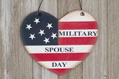 Retro Military Spouse Day Heart Sign With The Colors Of The Usa Flag On Weathered Wood poster