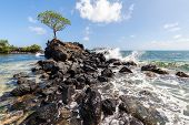 Wave Breaks Over Prehistoric Ruined Wave Breaker Made Of Basalt Slabs To Shallow Lagoon Of Corals An poster