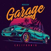 Original Vector Illustration Of An American Muscle Car In Retro Neon Style. poster
