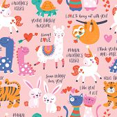 Seamless Pattern For Valentines Day With Cute Animals In Love. poster
