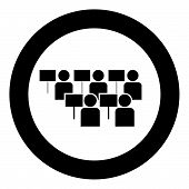 Protest Concept Demonstration Crowd Of Protesters People Revolution Idea Social Problem Icon Black C poster