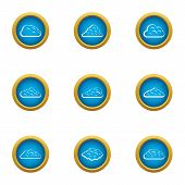 Mist Icons Set. Flat Set Of 9 Mist Icons For Web Isolated On White Background poster