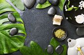 Spa Wellness Relax Concept. Spa Background With Spa Accessories On Dark Background. View From Above  poster