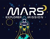 Mars Mission Rocket Fly Up In Space Explore Colonization Of Red Planet Mars Stars Satellite Spaceshi poster