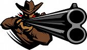 stock photo of wrangler  - Graphic Mascot Vector Image of a Cowboy Shooting a Rifle - JPG