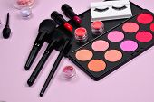 Professional Makeup Products With Cosmetic Beauty Products, Blushes, Eye Liner, Eye Lashes, Brushes  poster