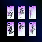 Big Set Of Vector Mockup Accessories For Smartphones. Botany Style - Stylish Design Of A Cover Print poster