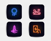 Neon Glow Lights. Set Of Parking Security, Crowdfunding And Success Icons. Receive Money Sign. Video poster