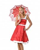 picture of nineteen fifties  - pretty blonde pinup model in a red and white polkadot dress - JPG