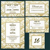 Wedding Vector Invite Card. Ornate Art Deco Vintage Design Card. Gatsby Art Deco Background. Line Ar poster