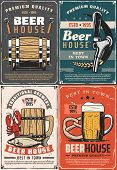 Beer House Retro Posters For Pub Or Bar. Traditional Brewery Cards Barrel, Glass And Wooden Mug Of R poster