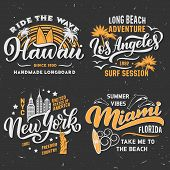 Surfing Adventure Club T-shirt Design. Hawaii, Los Angeles In California Or Miami And New York City. poster