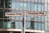 Road Name With Text Potsdamer Strasse And Platz That Means Potsdam Street And Square In Berlin In Ge poster